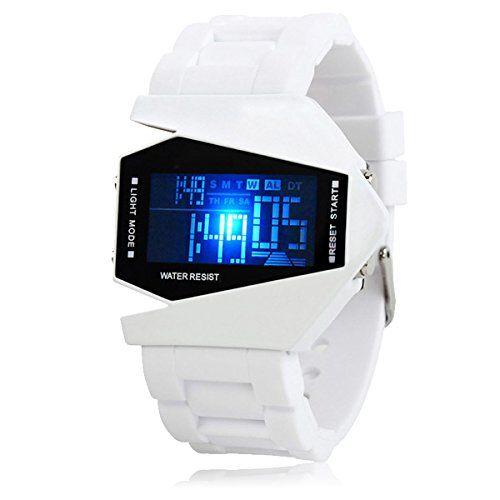 Silikon LED LCD Uhr Digital Armbanduhr Herren Damen Fliegeruhr Camouflage Militär Military Trend Gummi Unisex Sport weiß - http://uhr.haus/autiga/silikon-led-lcd-uhr-digital-armbanduhr-herren-3