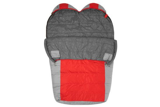 """Tracker Double-Wide +5°F UltraLight Sleeping Bag w/ Body Mapping- Dimensions: 87"""" x 63"""" (at the shoulders) x 44"""" (at the foot) Temperature Rating: +5°F Fill: PolarLite™ Insulation Shell: 75D Diamond Ripstop Lining: Double-Brushed P5 Poly Hi-Count Storage: Oxford Stuff Sack with Drawstring Closure Zipper: Dual Side Zip Pack Weight: 8.2 lbs Pack Size: 18"""" x 10"""" x 10"""" Color: Red with Grey Accents- FAMILY STOREHOUSE"""