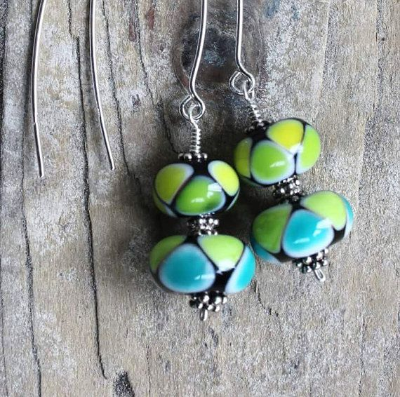 Rainbow Bead Earrings, Lampwork Bead Earrings, Glass Bead Earrings, Green and Teal Earrings, Artisan Glass Jewelry, Murano Glass, Handmade