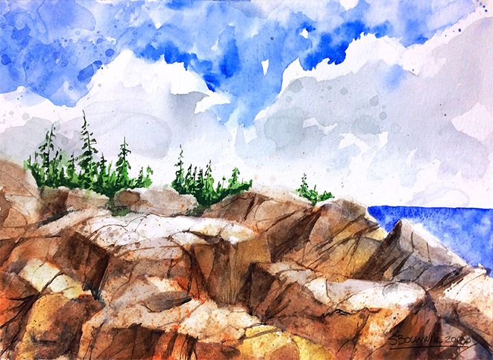 Watercolor painting by artist Stephane Bourrelle Paysage art watercolor watercolour aquarelle artoftheday paint creative artwork artist