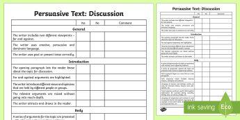 Persuasive Text: Discussion Assessment Checklist - Literacy, discussion assessment grid, assessemtn grid, english, australian curriculum, persuasive as
