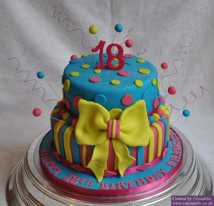 18th bright birthday cake cakes pinterest 18th for 18th cake decoration