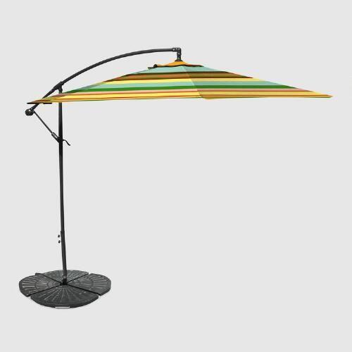 Havana Stripe 10 Ft Outdoor Cantilever Umbrella And Weight Base