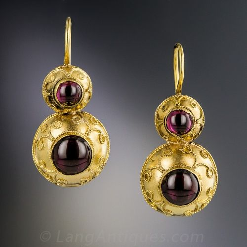 Antique 18K Yellow Gold Garnet Earrings, Darling double drops centered with raspberry garnet cabochons framed in orbicular Etruscan-style mounts, handcrafted in 18K yellow gold. These lovely Victorian-era earrings measure 3/4 inches, not including the newly added earwires.
