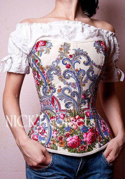 Корсеты ручной работы. Корсет  из павлопосадского платка. NICK'L corsets. Интернет-магазин Ярмарка Мастеров. Утягивающий корсет, корсет на грудь