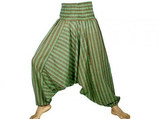 Grønnstripete aladdinbukse / haremsbukse / yogabukse | Alternativ nettbutikk med organiske smykker og klær inspirert av naturen.