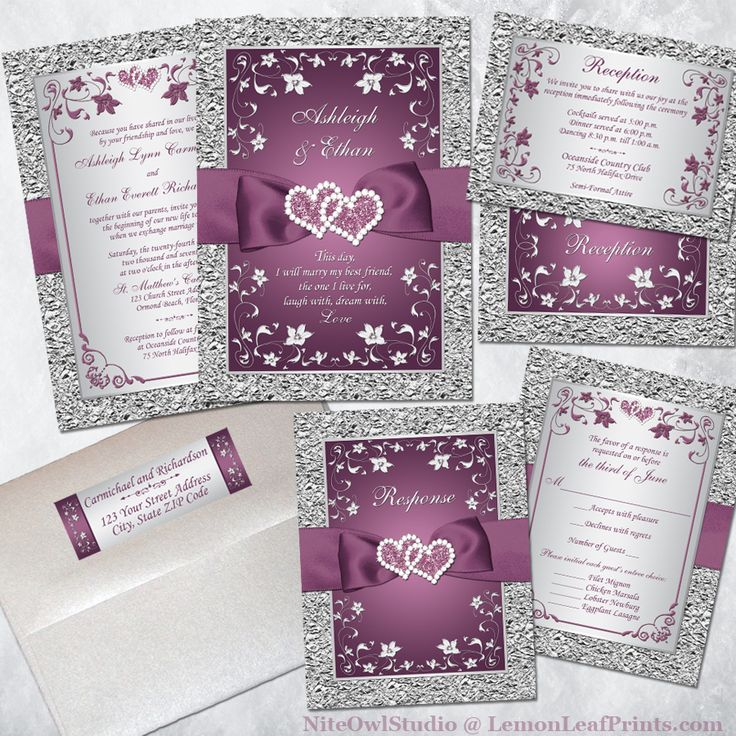 Plum And Silver Wedding Invitations: 69 Best Plum Purple And Silver Or Gray Wedding Ideas