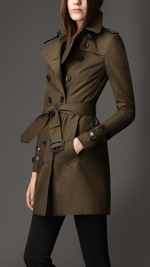 Dark khaki green Mid-Length Leather Detail Gabardine Trench Coat - Image 1