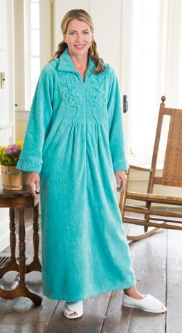 Womens Chenille Robe ZipFront Bathrobe with Pockets in