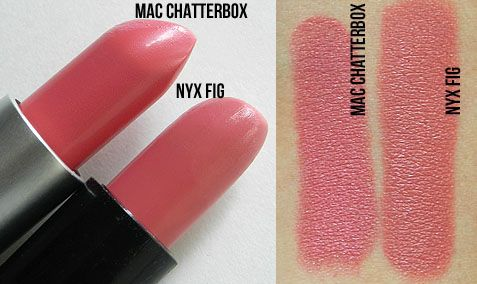 MAC Chatterbox Lipstick vs. NYX Fig Lipstick