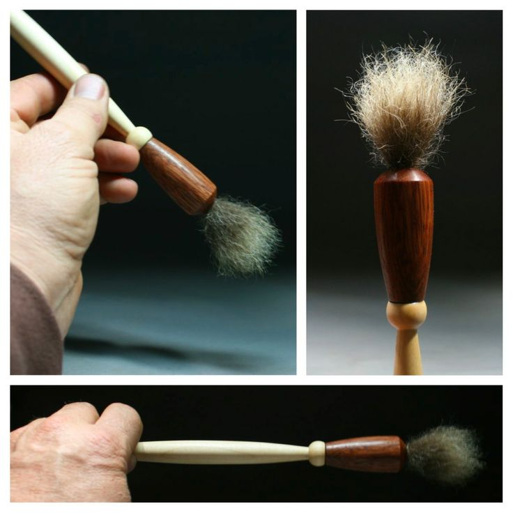 Musk ox hair, bubinga ferrule and a hard maple handle. This brush actually comes to a fine point when dipped in slip.