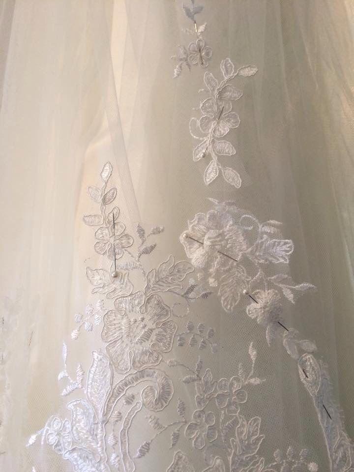 Custom Veil in progress  www.arynverebride.com #wedding #bride #handcrafted #sydneydesigners #embroidery #lace #bridalveil #swarovski #crystals #couture #tulle #weddingveil #bridalshoes #flowers #haute couture #weoa #weddingexpo #winterbride #cloak