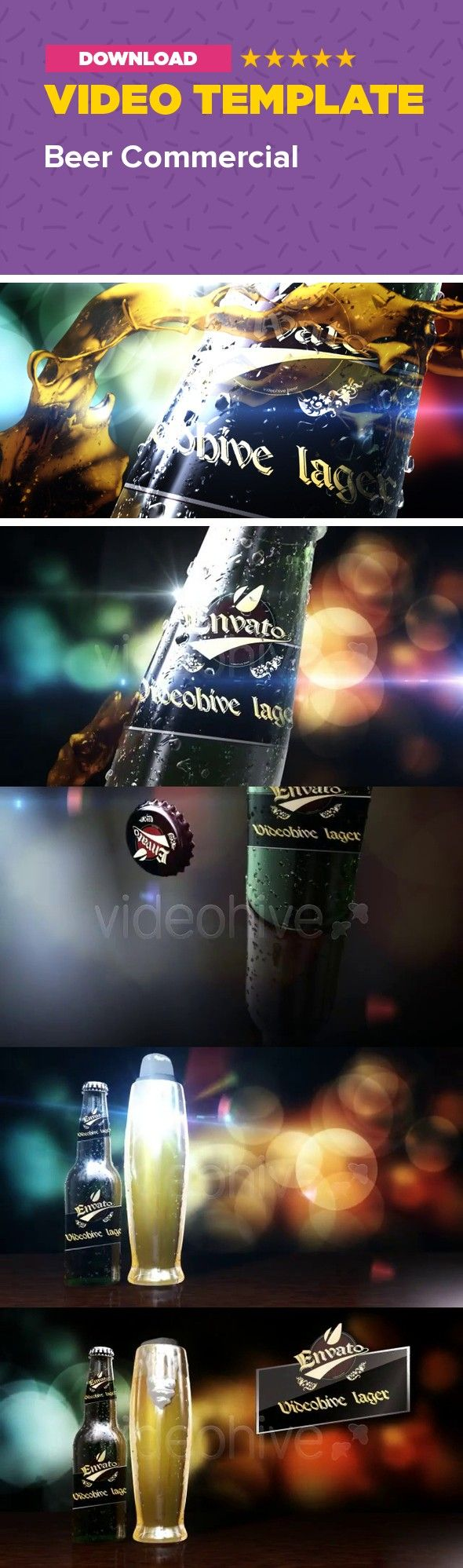 alcohol, bar, beer, Beer Commercial after effects, beer logo, Beer opener, bottle, cold, Drink Commercial, intro, liquid, logo reveal, pub, soda, tv After Effects BEER COMMERCIAL template   	  HD VERSION: http://www.youtube.com/watch?v=aPu9kM-D1TM Beer Commercial project, gives you the chance to build yours beer commercial.  Change the background, change the beerlable and your beer commercial ready!!!   	FULL HD 1920X1080   	No plug-in is required but i have also added the file which uses…
