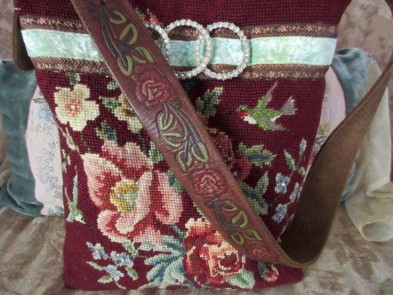 Vintage Needlepoint Birds, Roses, Rust, Pink, Blue, Green, Velvet Ribbon, Rhinestones Burgundy Handbag