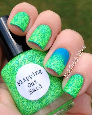 Blue nails with green sparkles over top...so cute!