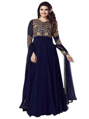 blue georgette  semistitched suit