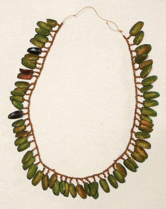Necklace, seeds, beetle wings, fiber, Cofani people, Ecuador, 1960