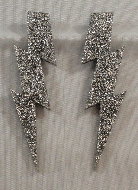 "5"" Glam style extra large glitter lightning bolt earrings by Lara's Fabrication Unlimited"