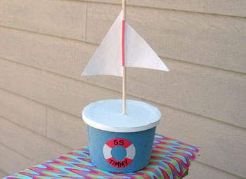 Tub Boat CraftCrafts For Kids, Backyard Fun, Sailboats Crafts, Boats Treats, Coins Banks, Backyards Fun, Bootje Parties, Butter Bowls, Classic Crafts