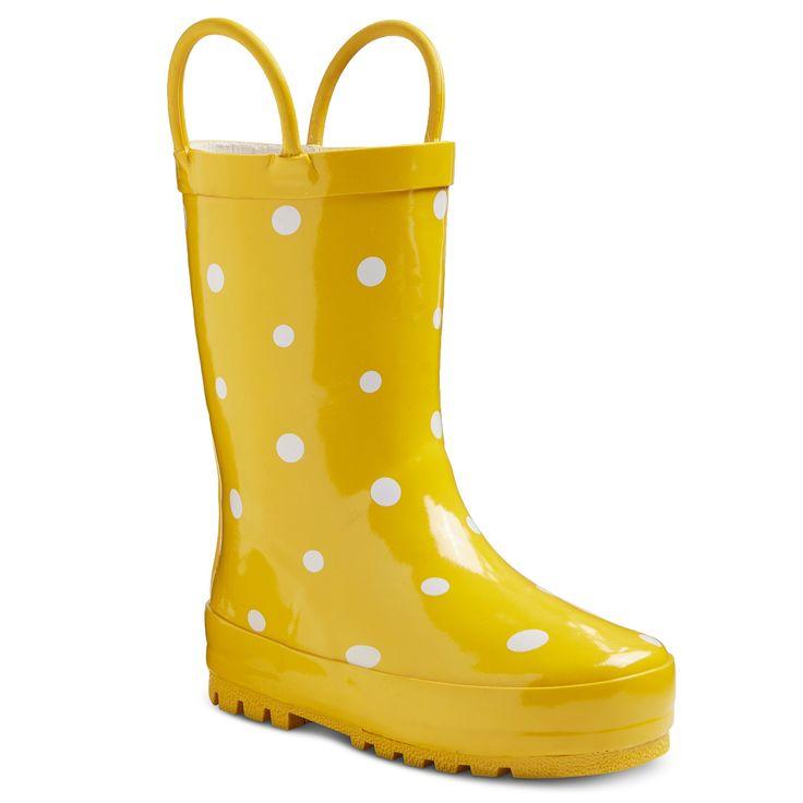Toddler Girl's Polka Dot Rain Boots - Yellow : Target