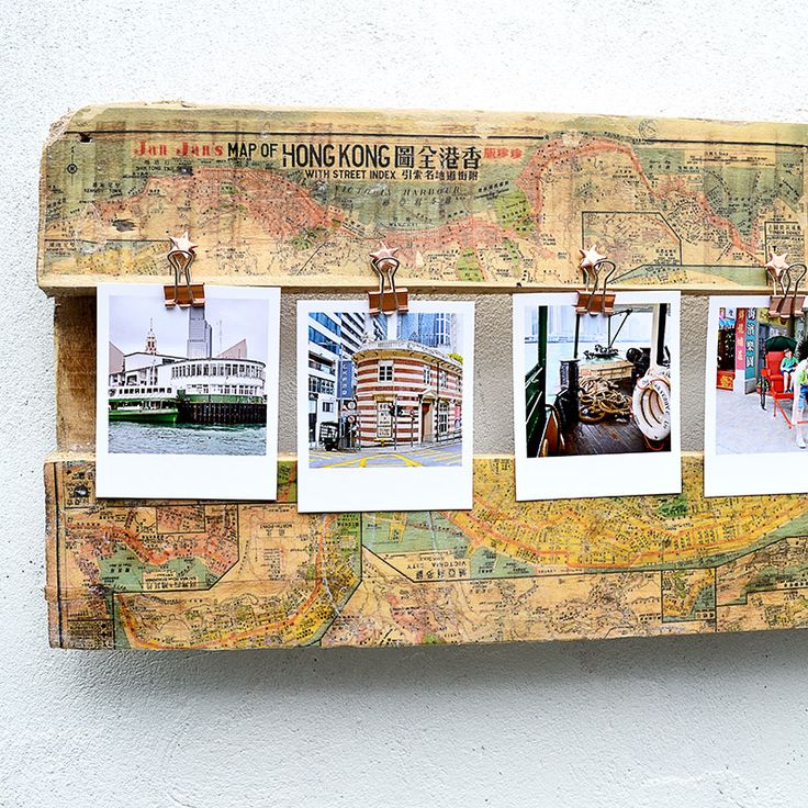 How to make a unique upcycled DIY pallet printed map picture frame. A cool and personal way to show your holiday photos.