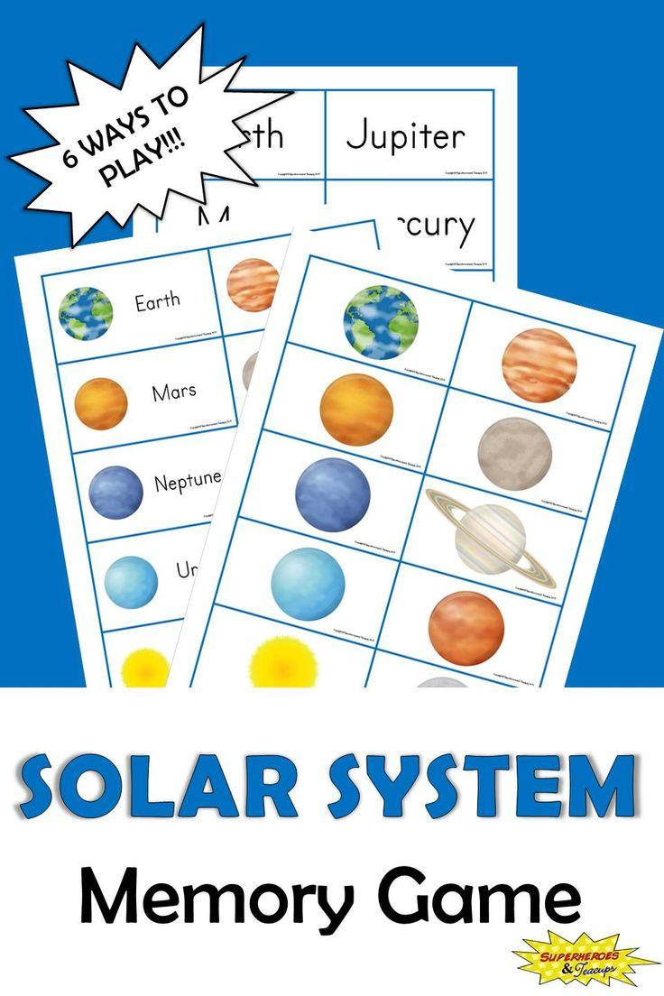 Solar System Memory Game for Kids