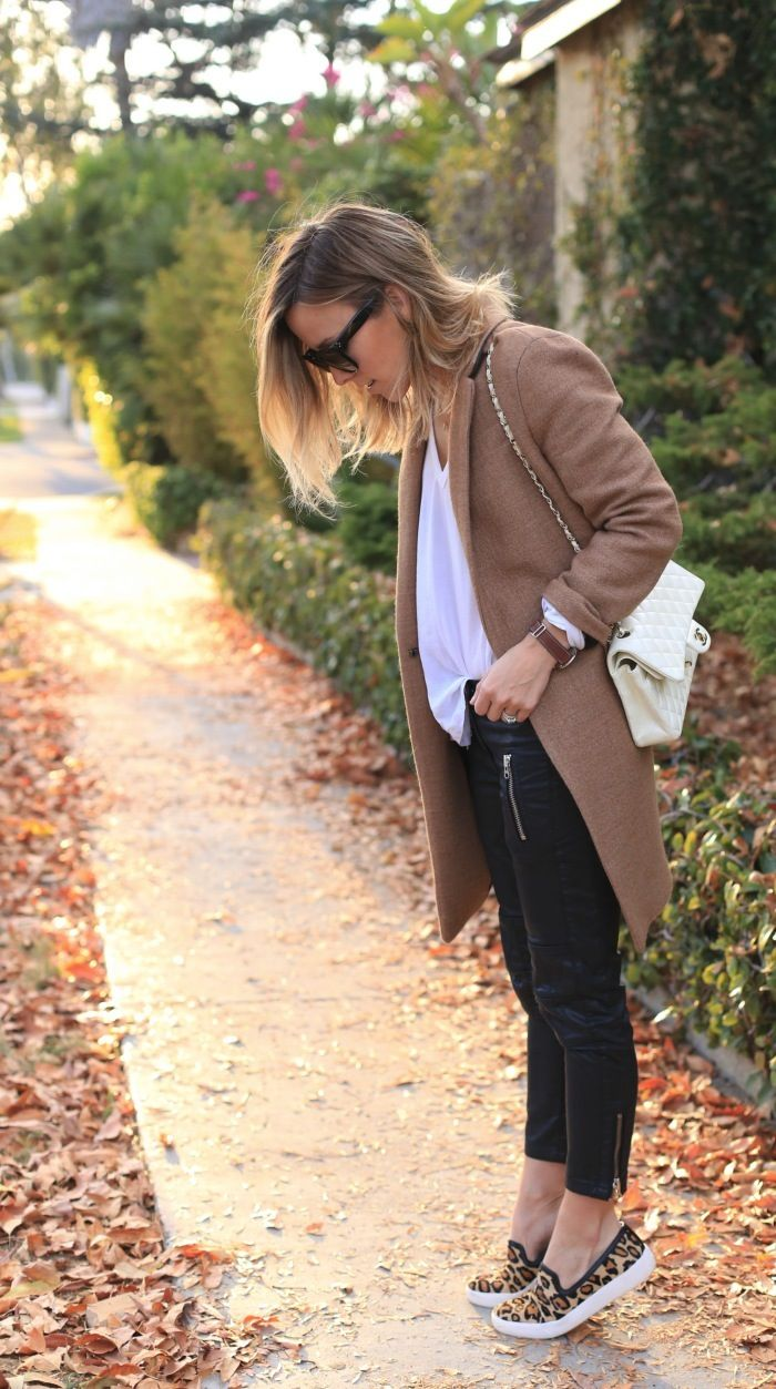 Tan Coat and Leopard Sneakers