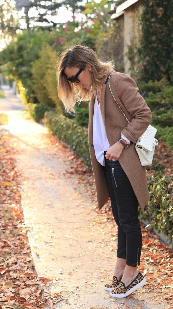 Tan Coat and Leopard Sneakers