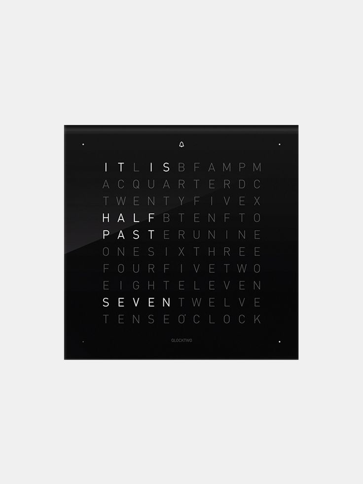 QLOCKTWO , İngilizce Siyah Masa Saati Kapağı