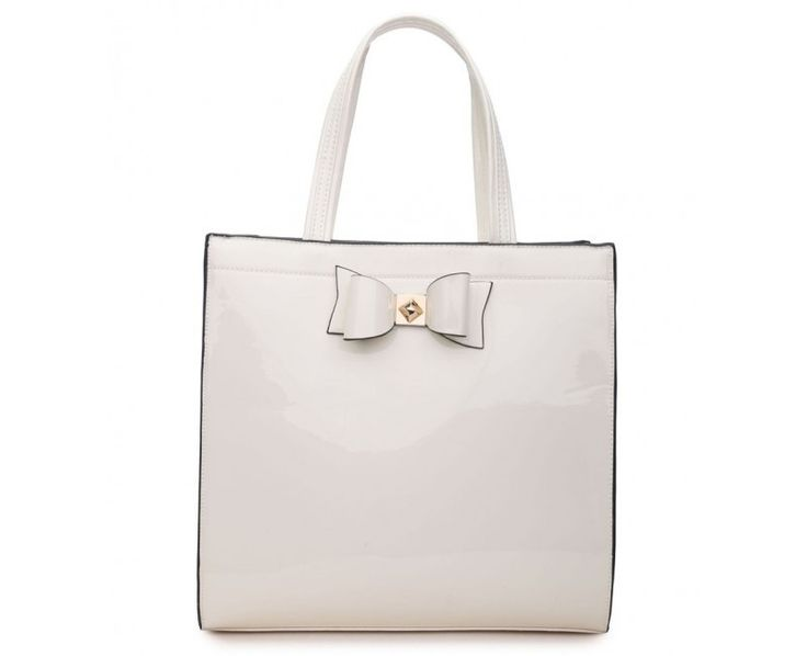 White Patent Shopper Bag with Bow - Extra Large Size - The Handbag Hut - The latest handbag trends at prices you can't resist!