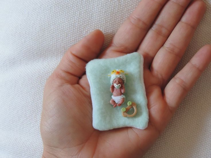 OOAK Polymer Clay Miniature Baby Boy . By Sheila Mrofka