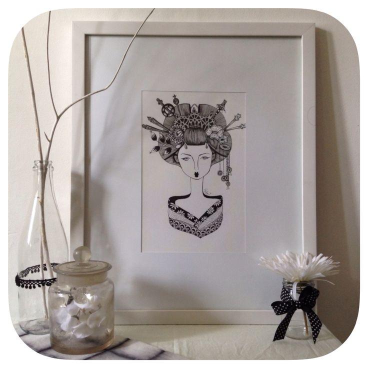 Geisha zentangle for sale   Instagram: @oldhippie_online