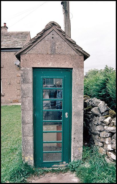 I've never seen another British 'phone box like this one, seen in the village of Chelmorton, Derbyshire. Stone-built, and with green, rather than the traditional red livery, it is still connected to the network! Nikon F5, 35-80mm Nikkor Lens, Ektar