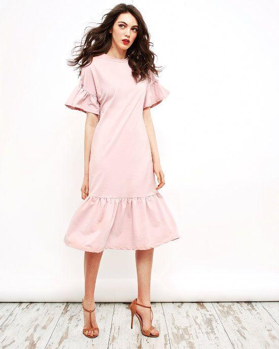 Хлопковое платье с воланами (розовое)