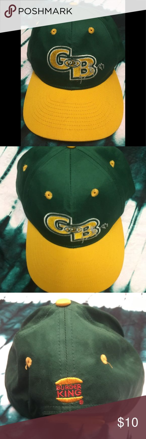 Vintage hat Green Bay Gilbert brown #93 snapback Vintage Burger King promotional snapback hat featuring Gilbert brown number 93 of the NFL football team the Green Bay packers this is an amazing find and I'm sad to let it go. Accessories Hats