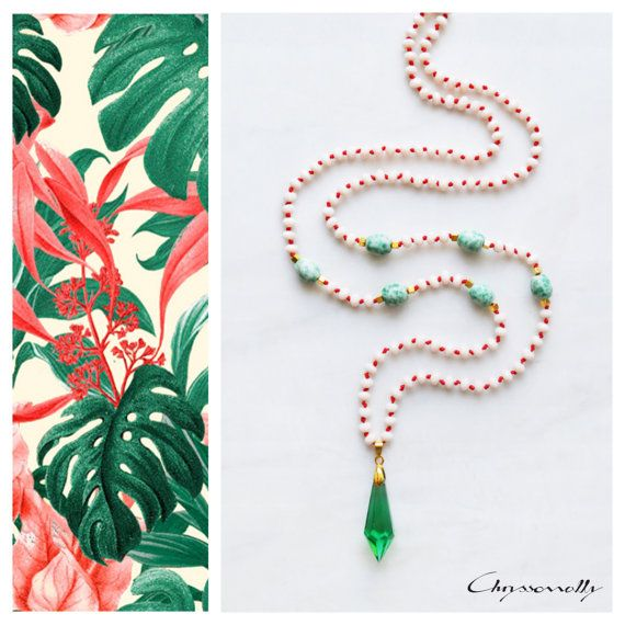 CBN002 - Chryssomally long boho beaded necklace with emerald green crystal pendant, beige crystals and green jade stones on red cord.