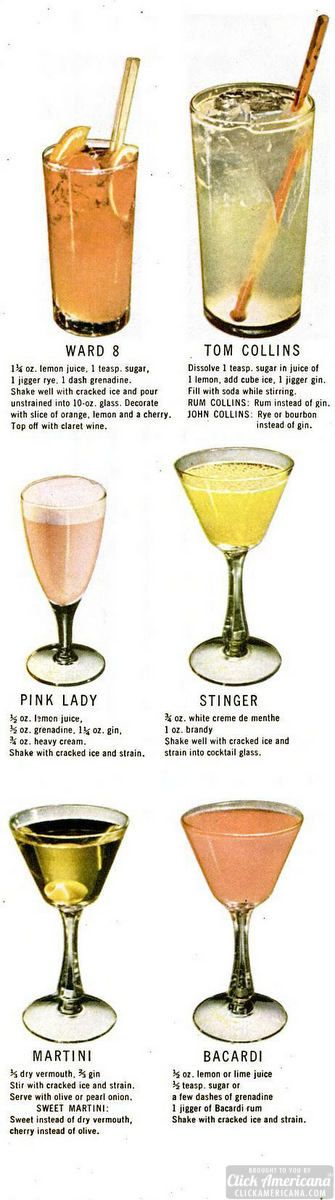 This is the way to make thirty favorite drinks Also see: 50 drinks & toasts (1968) Drink recipes for: Planter's Punch – Gin Rickey – Sloe Gin Fizz – Tom & Jerry – Hot Toddy – Side Car – Sherry Flip – Eggnog – Frozen Daiquiri   Vintage cocktail recipes Drink recipes for: Mint Julep – …