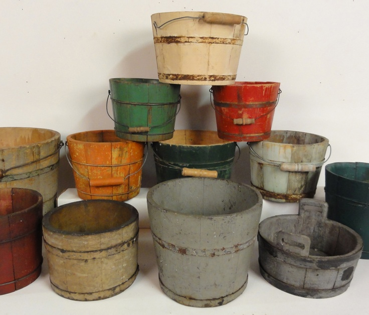 19th century American wooden buckets, all with original paint in various colors.....I NEED THESE!!!