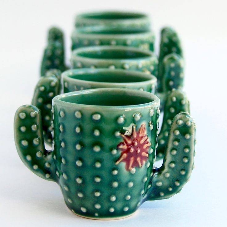 I love this handmade Cactus Shot Glass Cup from Back Bay Pottery! #AD