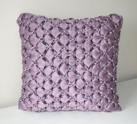 Decorative Smocked Pillow Cover Beaded Cushion Cover 16x16 Throw Pillow Purple Couch Cushion Covers Purple Cushion Cover Purple Bow Pillow