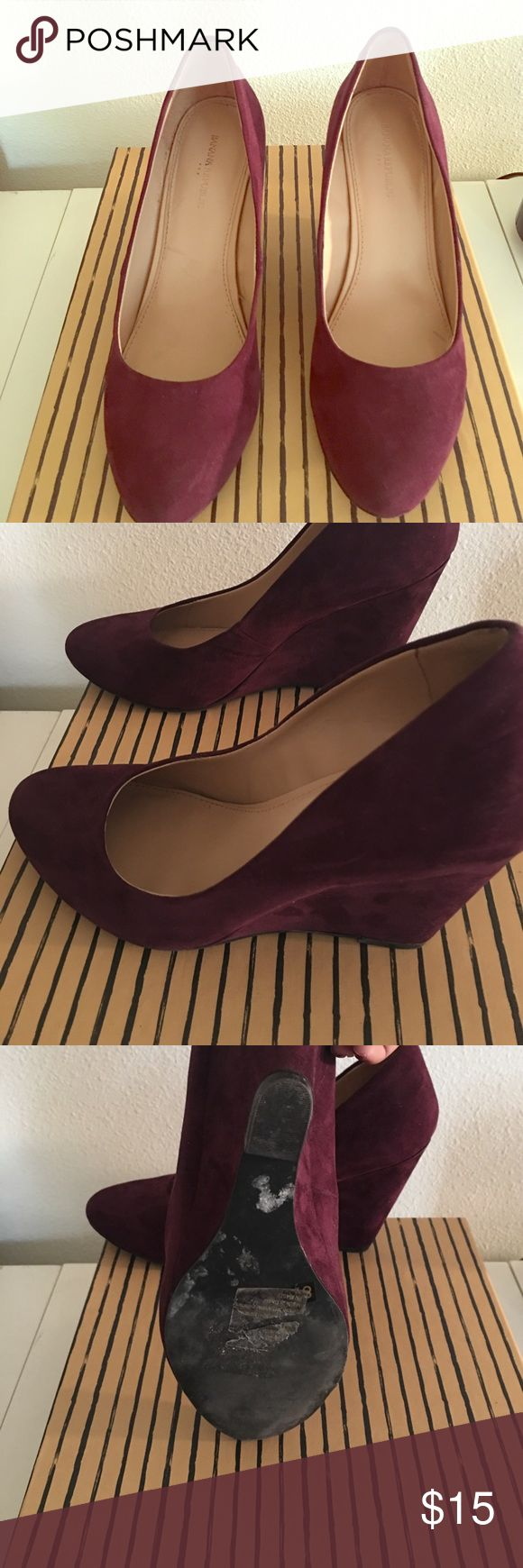 Wedges, plum color Banana Republic, used once Banana Republic Shoes Wedges