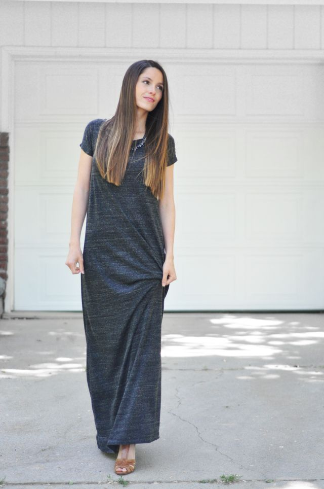 Turn your favorite tee shirt into a pattern for a maxi dress.