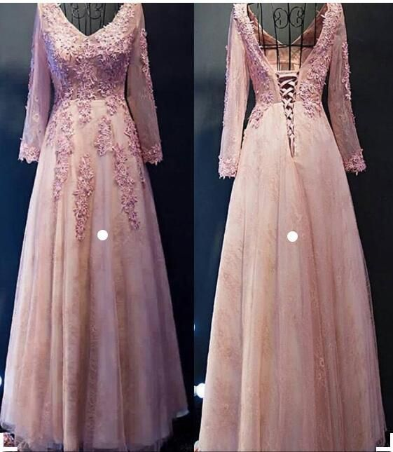 Cheap Long Prom Evening Dress Comely Pink Evening Dresses With Tulle V-Neck Lace Up Lace Dresses