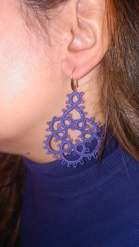 Purple lace earrings Tatting lace earrings Needle by Poppyg