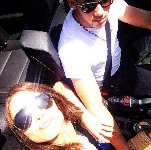 Nick Jonas car ride selfie with Olivia Culpo