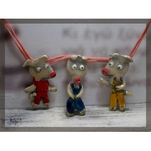 The 3 little pigs fairytale , silver necklace
