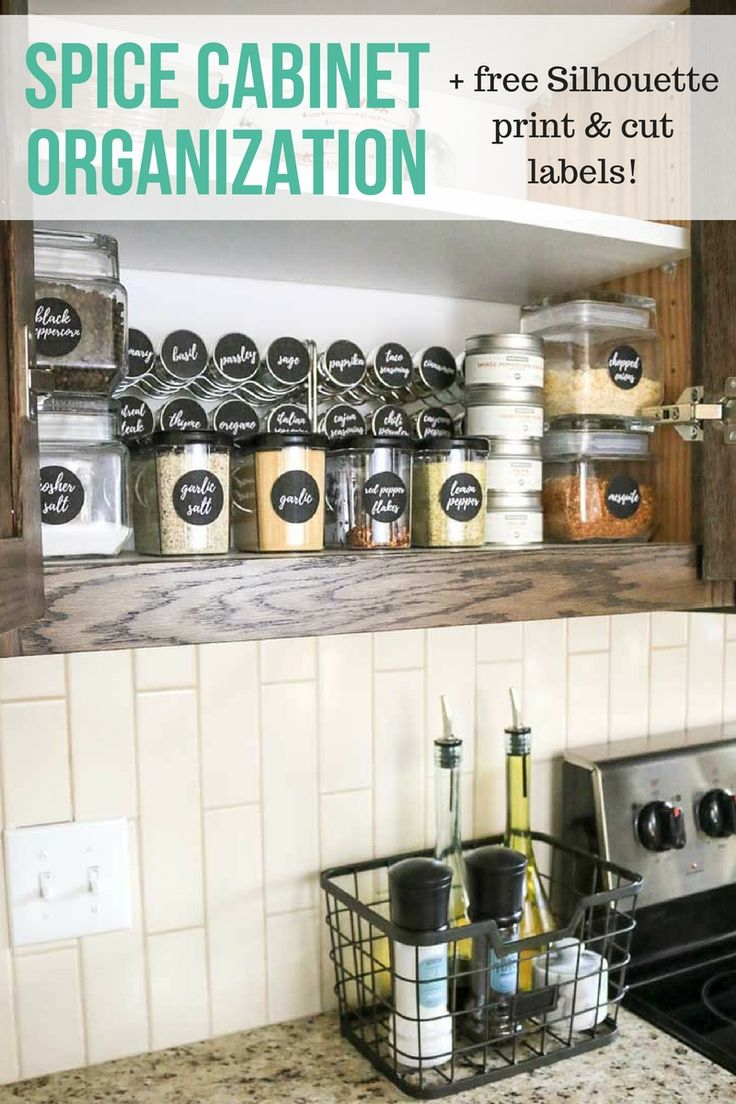 How to completely transform your your spice cabinet with a organization makeover | Free Silhouette print and cut labels for your glass spice jars | DIY ideas of ways to organize spices in pantry | Space saving kitchen ideas for small spaces #ad