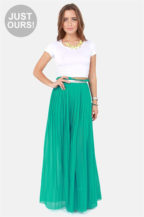 LULUS Exclusive Right Pleats, Right Time Teal Maxi Skirt at LuLus.com! I want this...