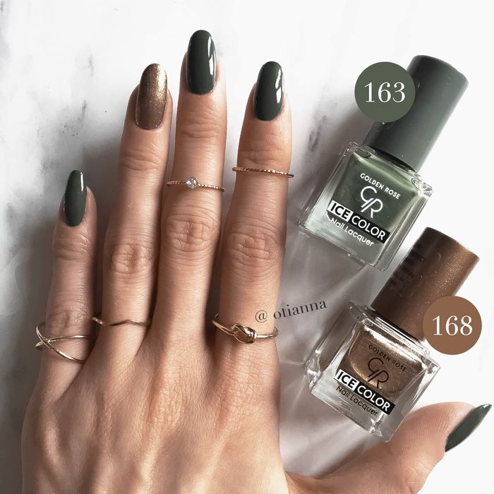 Golden Rose | Ice Color Nail Lacquer | Lakier do paznokci | numer 163 lakier khaki, lakier matowy lakier ciemne złoto, lakier do paznokci zielony