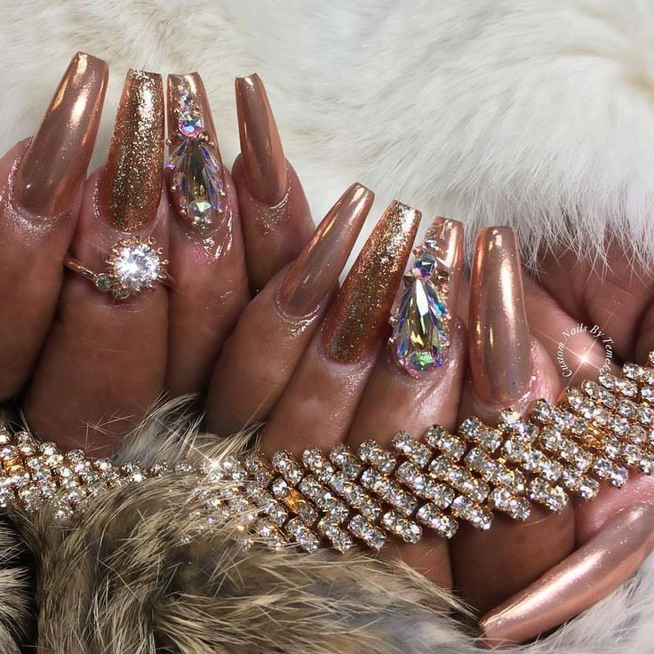 Beautiful rosegold nails by customtnails1 shop for